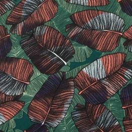 Tissu micro satin tropical leaves - Vert
