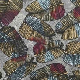 Tissu micro satin tropical leaves - Gris