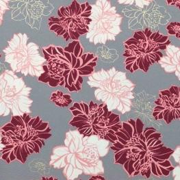 Tissu fleurs dorées  - Gris, rose et doré