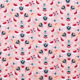 Tissu velours milleraies bird & flowers - Rose
