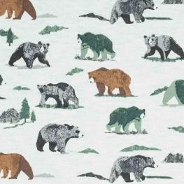 Tissu jersey sweat grizzly - Beige chiné