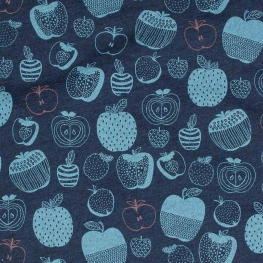 Tissu jersey amazing apple - Bleu