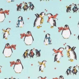 Tissu jersey pretty pingouins - Bleu
