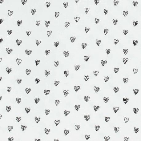 Image Coeur Noir Et Blanc tissu viscose petit coeur - noir & blanc - mercerie caréfil