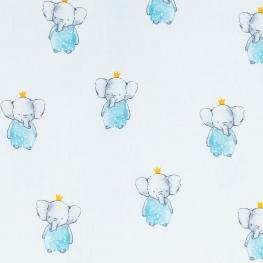 Tissu coton roi éléphant - Bleu