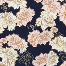 Tissu fleurs dorées - Bleu marine, rose et doré