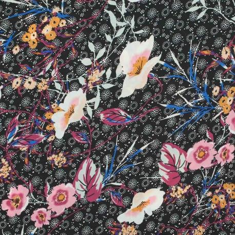 Tissu fleuri cherry - Noir