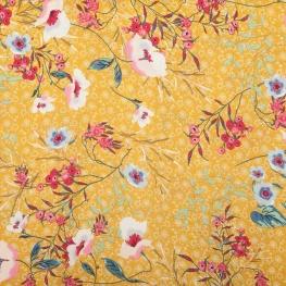 Tissu fleuri cherry - Ocre