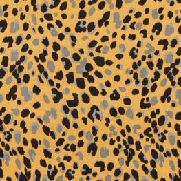 Tissu viscose twill animal - Ocre & noir