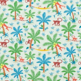 Tissu coton cretonne singes - Ecru