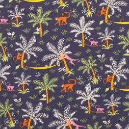 Tissu coton cretonne singes - Bleu marine