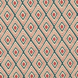 Tissu toile coton losange ethnique - Bordeaux & bleu