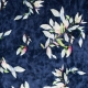 Tissu panne de velours fleuri - Bleu marine