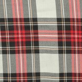 Tissu écossais tartan - Rouge, noir & beige