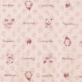 Tissu minky à pois lovely baby - Rose