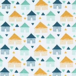 Tissu coton maison cabane - Moutarde, vert & bleu