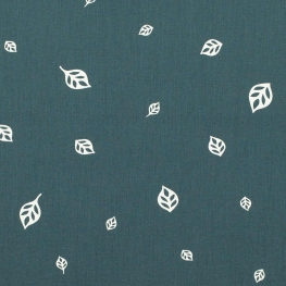 Tissu coton feuillage - Bleu canard foncé