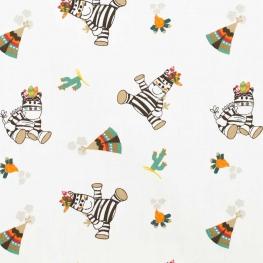 Tissu coton zèbre - Multicolore