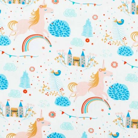 Tissu coton licornes et châteaux - Multicolore