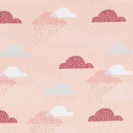 Tissu coton nuages - Rose pêche