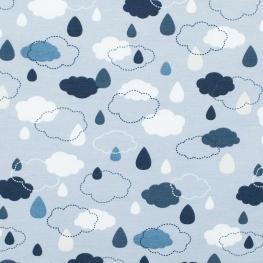 Tissu jersey nuages - Bleu