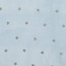 Tissu velours milleraies étoile argenté - Bleu