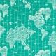 Tissu jersey map monde - Vert