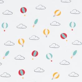 Tissu jersey montgolfières et nuages - Vert, jaune et rouge