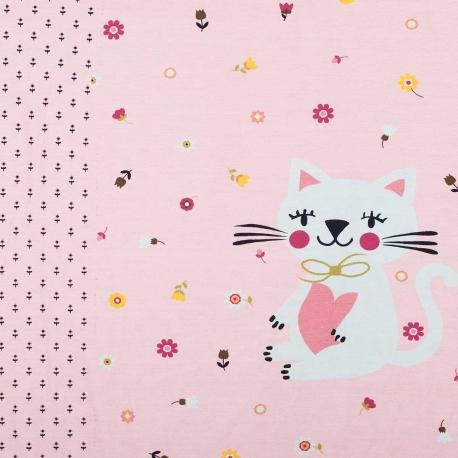 Panneau de tissu jersey chat rose - 57 x 150cm