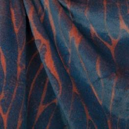 Tissu fausse fourrure de luxe bicolore - Bleu & orange