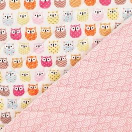 Tissu matelassé mini hiboux & vagues japonaise - Rose