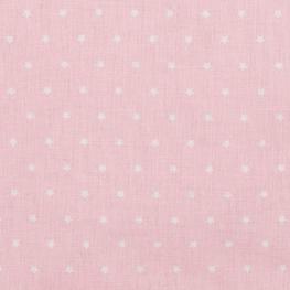 Tissu coton mini étoiles - Rose & blanc