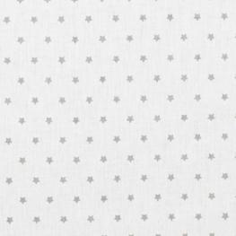 Tissu coton mini étoiles - Blanc & gris