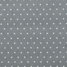 Tissu coton mini étoiles - Gris anthracite & blanc
