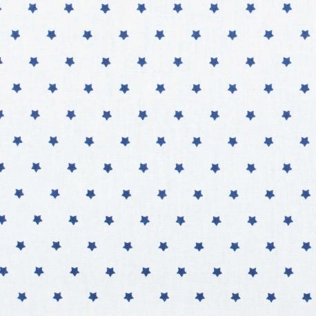 Tissu coton mini étoiles - Blanc & bleu marine