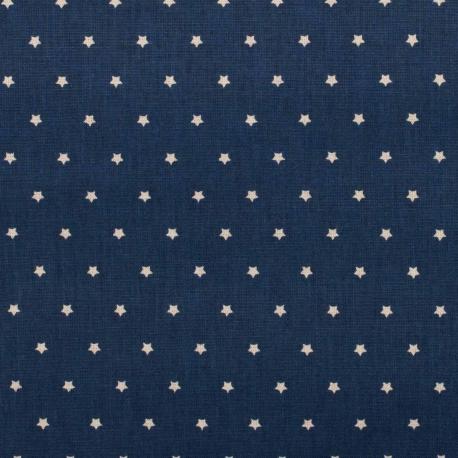 Tissu coton mini étoiles - Bleu marine & blanc