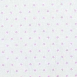 Tissu coton mini étoiles - Blanc & parme