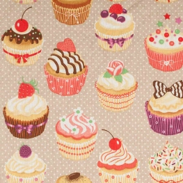 Tissu coton cupcakes