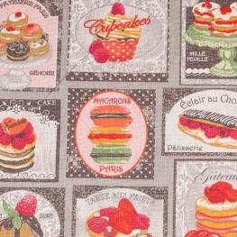 Tissu coton gâteaux