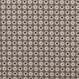 Tissu coton rond fleuri - Gris anthracite