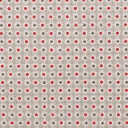 Tissu coton fleuri - Beige & rouge