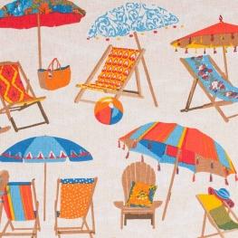 Tissu coton plage, transat et parasol - Multicolore