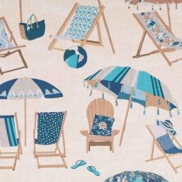 Tissu coton plage, transat et parasol - Bleu