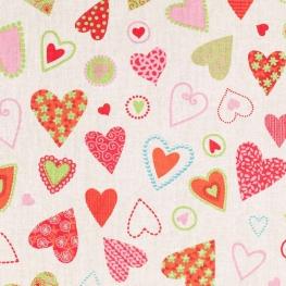 Tissu coeur patchwork - Multicolore