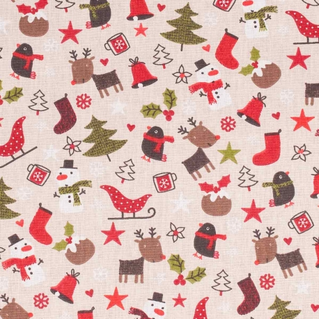 Tissu de Noël happy