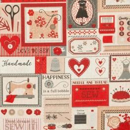 Tissu coton j'aime la couture - Rouge