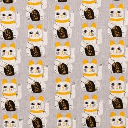 Tissu coton chat japonais - Gris