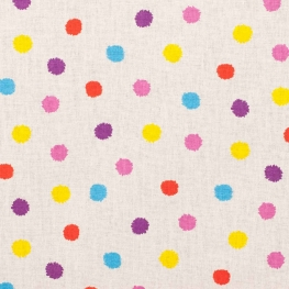 Tissu coton happy pompon - Multicolore