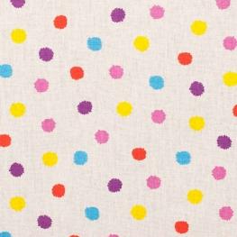 Tissu coton happy pompon - Multicolore