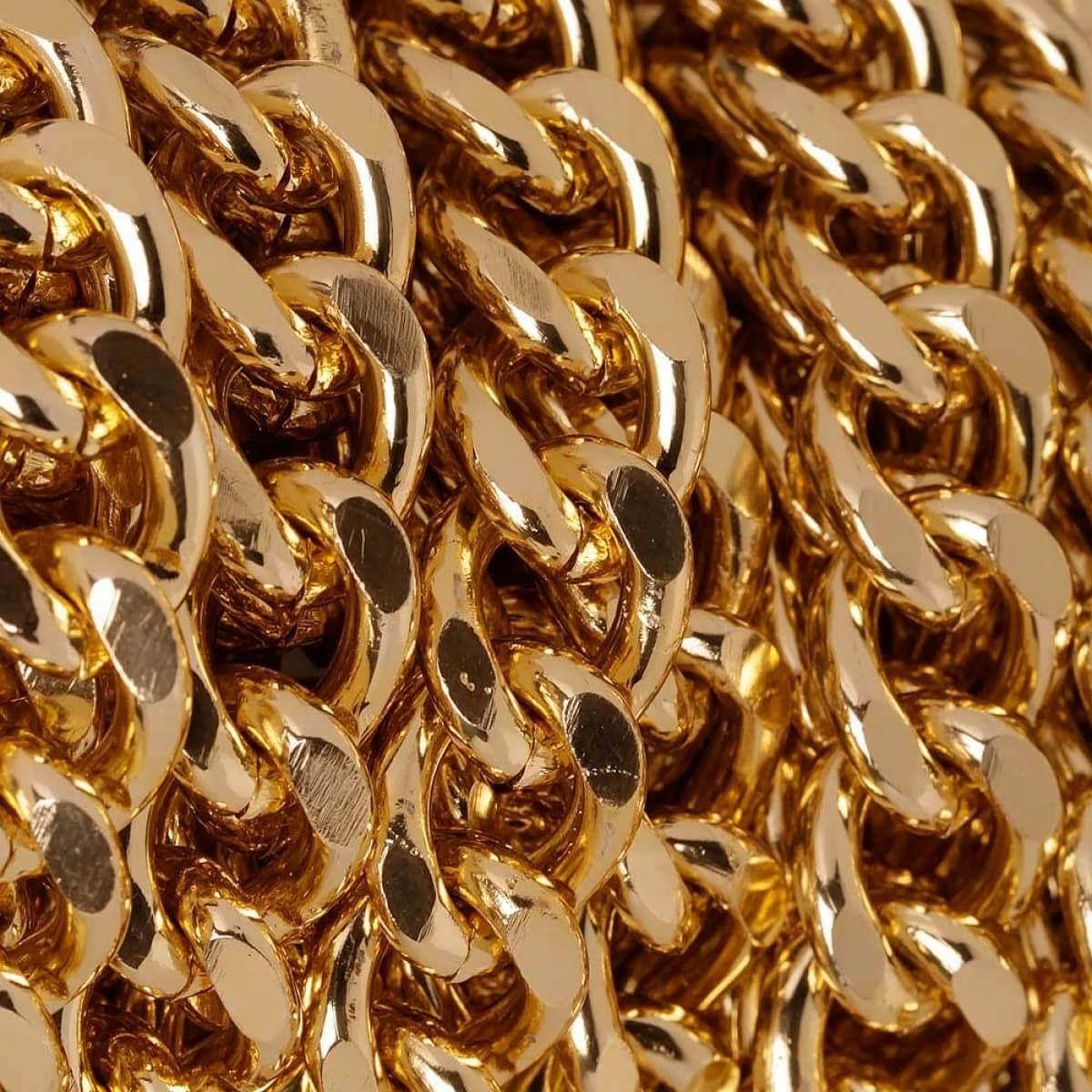 chaine maille gourmette rouleau de 5 metres dore